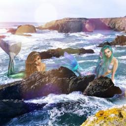 freetoedit siren see ocean fantasyart
