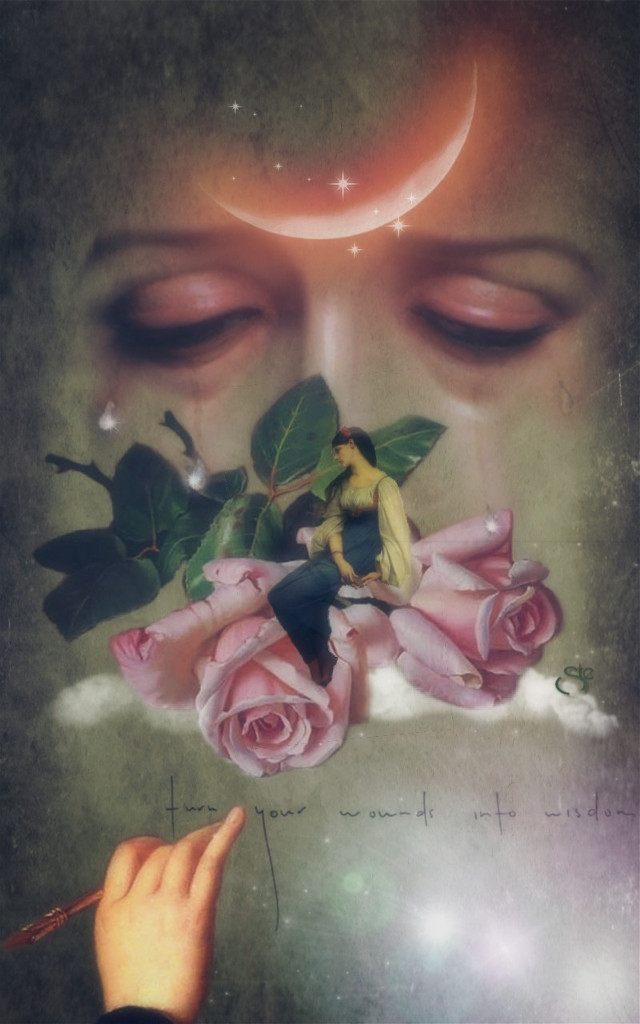 Turn your wounds into wisdom #art #beauty #emotions #tears #sadness #roses #moon #quotes #lilliput #stestyle #ste2019