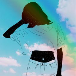freetoedit rainbow sky girl black