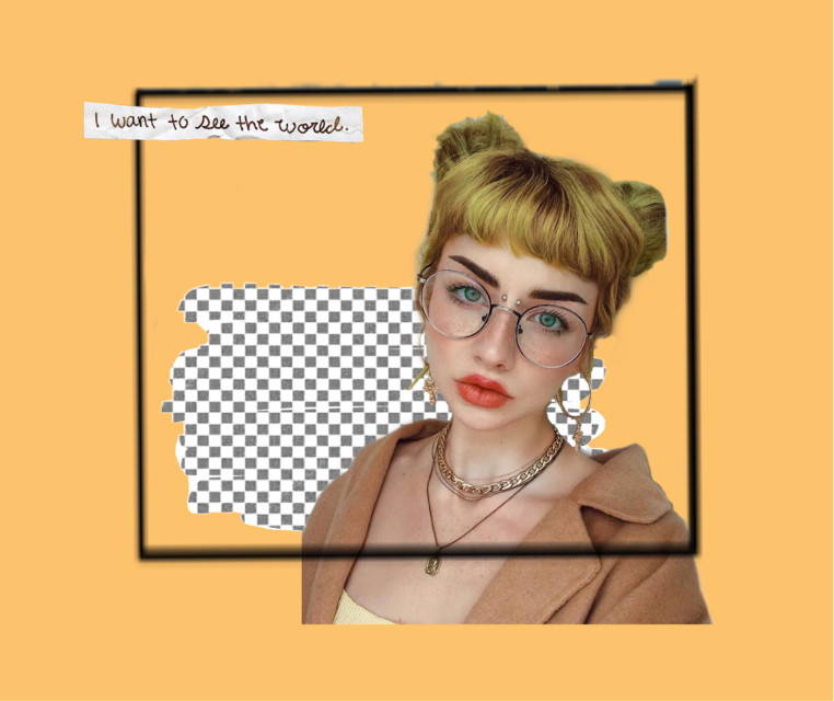 👁🌼 #freetoedit #edit #girl #woman #square #background #sticker #stickers #dyedhair #hair #spacebuns #buns #blonde #glasses #trendy #jewelry #makeup #hairstyle #yellow #paper