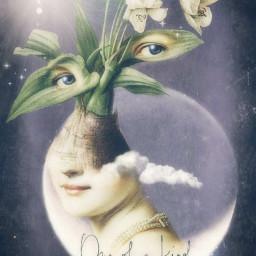 art moon flowers fantasy oneofakind