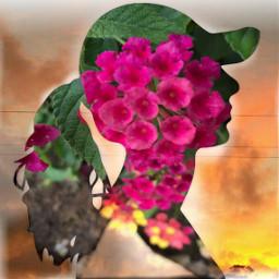 freetoedit doubleexposure flowers girlsilohuette silhouette