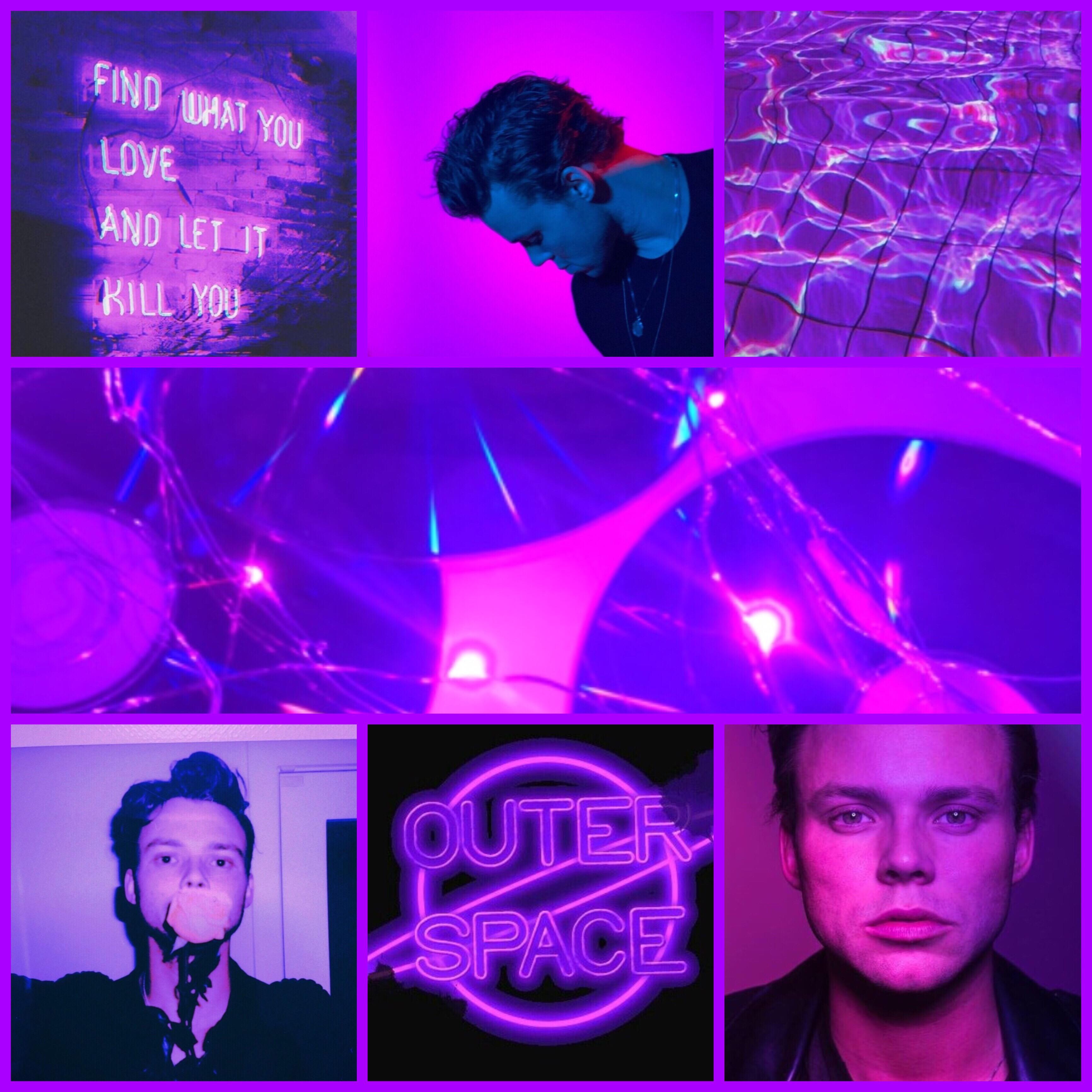 Ashtonirwin Purple Pink Black Neon Afi 5sos 5sec