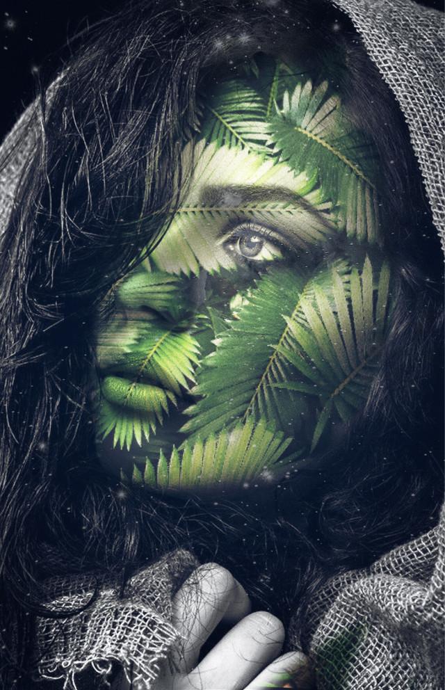 #freetoedit #Woman #girl #jungle #dschungel #leaf #hojas #Blätter