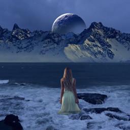 freetoedit fineart sea seashore bluemoon