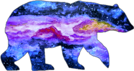 freetoedit ftestickers bear galaxy doubleexposure