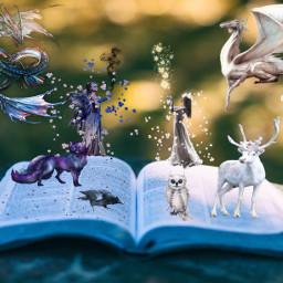 freetoedit fantasy fairy fairytales animals dragon book nature white purple unsplash