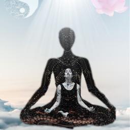 freetoedit meditation relax yoga clouds sky meditate girl calm light concentration woman flower floral unsplash