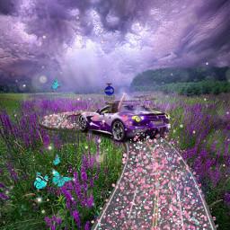 freetoedit spring nature floral flowers butterfly purple road sky car picsart photography pink magic edit france happiness life challenge travel srcspringroadtrip springroadtrip