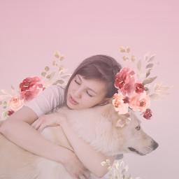 freetoedit girl pet remix flowers