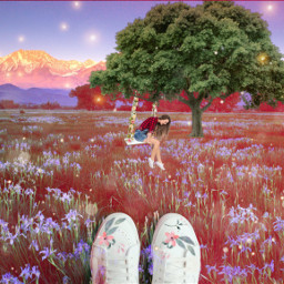 freetoedit spring swings swing flower floral flowers nature picsart edit picsartchallenge challenge day tree shoes sky magic field art mountains ircspringshoes springshoes