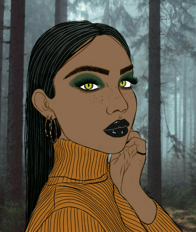 Werewolf Girl #freetoedit #remix #wolf #wolfgirl #werewolf #human #mythical #myth #creature #monster #forest #spooky #dark #vibes #mythicalcreatures #fantasy #brown #green #blue #mood