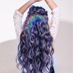 freetoeditl lightbluehair rainbow be freetoedit