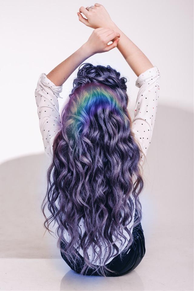 #freetoeditl#lightbluehair#rainbow#be_creative_inspired