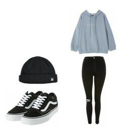 outfit black blue jeans