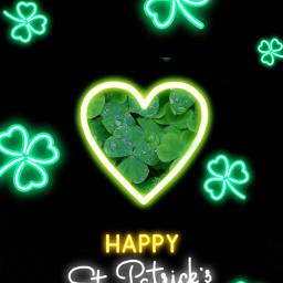 freetoedit stpatricksday neon clovers lucky