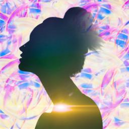 freetoedit sillhoute bubbles light girl