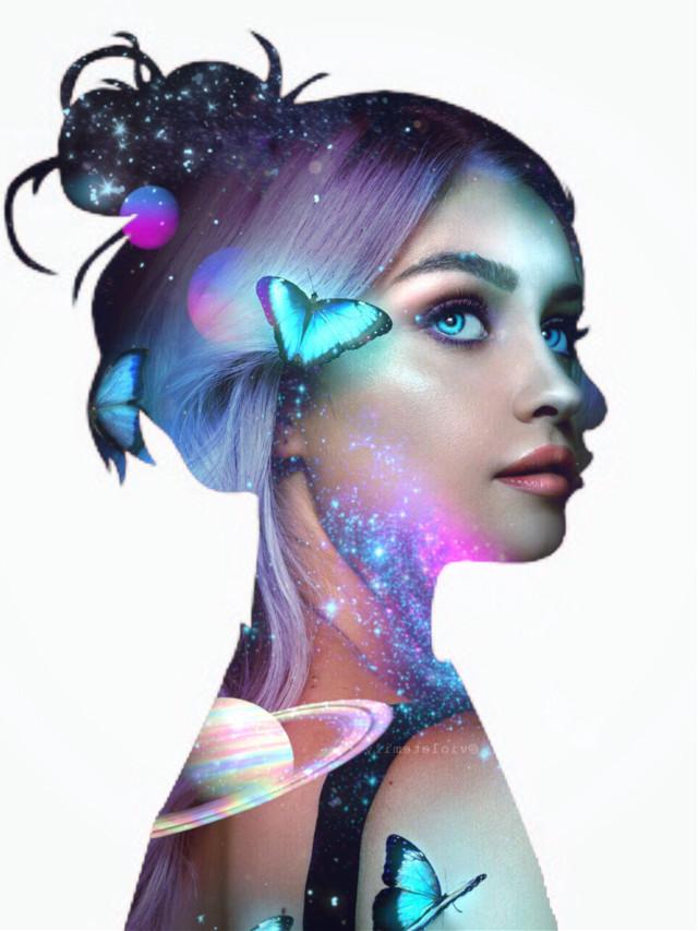 #freetoedit #picsart #madebyme #myedit #girl #butterfly #space #planets #irchersilhouette #hersilhouette