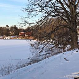 freetoedit winterwonderland snow landscape pond