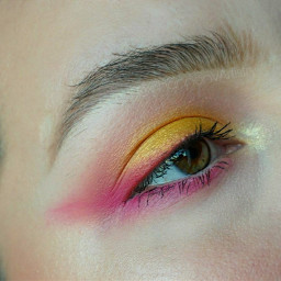 freetoedit yellow pink colourpop eyeliner