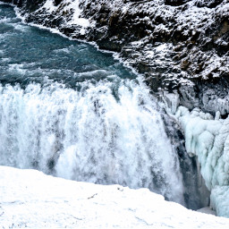 water waterfall snow ice winter pcwaterday pcintonature freetoedit pcsnowyslopes snowyslopes mountain