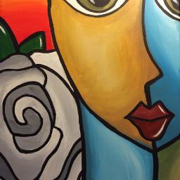fedrohomage tomfedro acryliconcanvas woman abstract freetoedit
