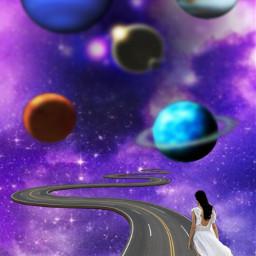 freetoedit cosmos universe violet walking