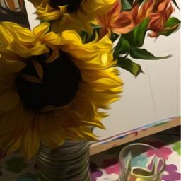 lifeisgood editedphoto singlemaltscotch sunflowers canvas freetoedit