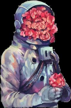 freetoedit beautifull flowers astronaut aesthetic