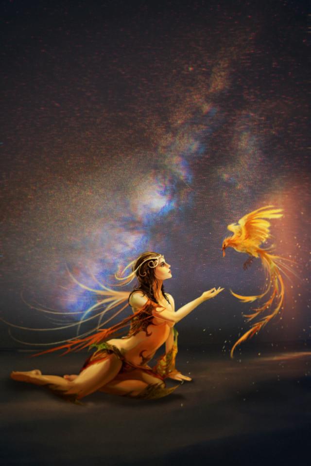 #freetoedit #woman #bird #sparkles #spacesky #fantasy #ftestickers #picsarteffects #picsart #remixed #remixme #remixit