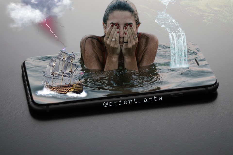#freetoedit #cellphone #iphone #water #girl #waterfall #cloud #lightning #ship #fantasy #imagination #picsart @picsart