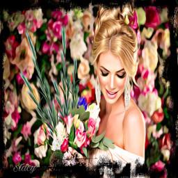 ircwheat wheat freetoedit woman flowerbouquet