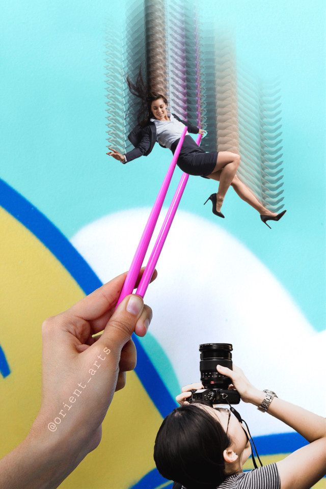 #freetoedit #woman #chopstick #photographer #movement #colors #surreal #picsart @picsart