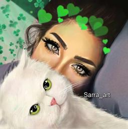 freetoedit sarraart greenlove cat
