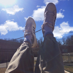 shoes clouds sky swings nature freetoedit