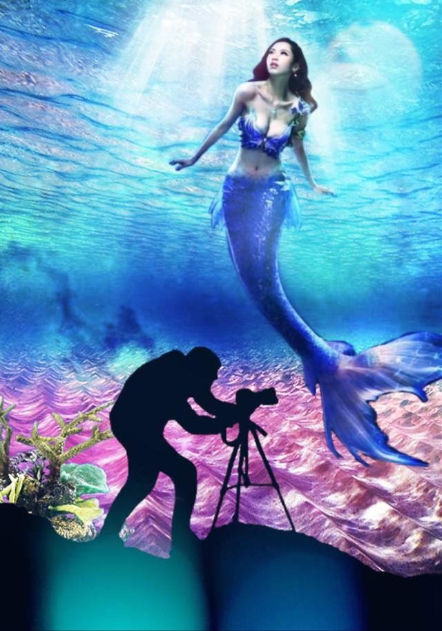 #freetoedit #underwater #mermaid #ocean #silhouette
