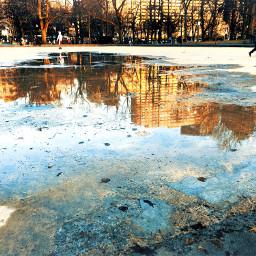 city urban reflection water puddle freetoedit