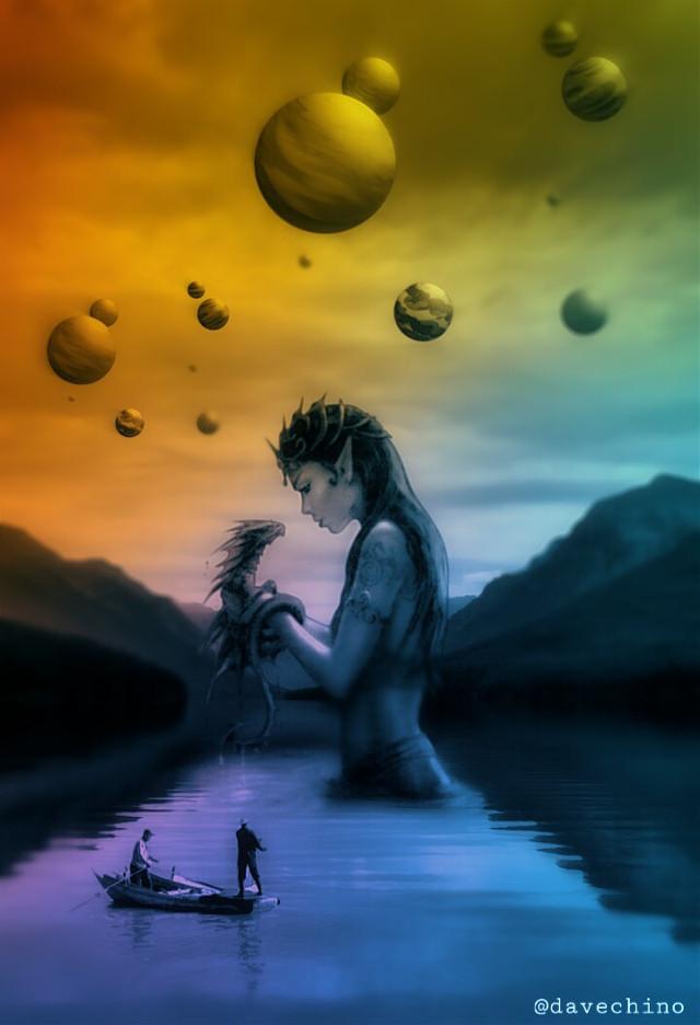 #fantasy #planet #girl #dragon #mountain #lake #boat @freetoedit @picsart #conseptual #surreal #surrealist #surrealism #be_creative #myart #myedit