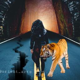 freetoedit road perspektive girl tiger