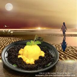 pudding mango dessert freetoedit