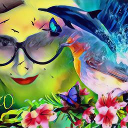 freetoedit woman face flowers bird