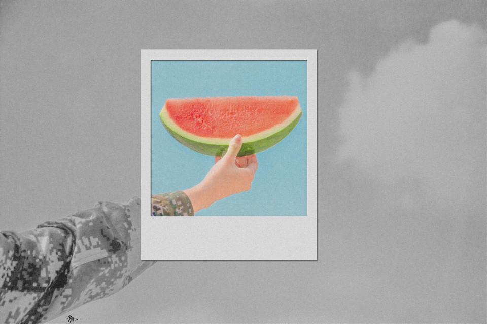 🍉 #watermelon #polaroid #blackandwhite #color #colour #freetoedit #art #artist #digital #digitalart #summer #photography #copyright