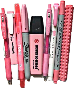 pink pens pencils markers office freetoedit