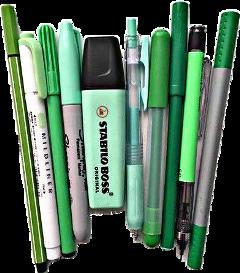 green pens pencils office markers freetoedit
