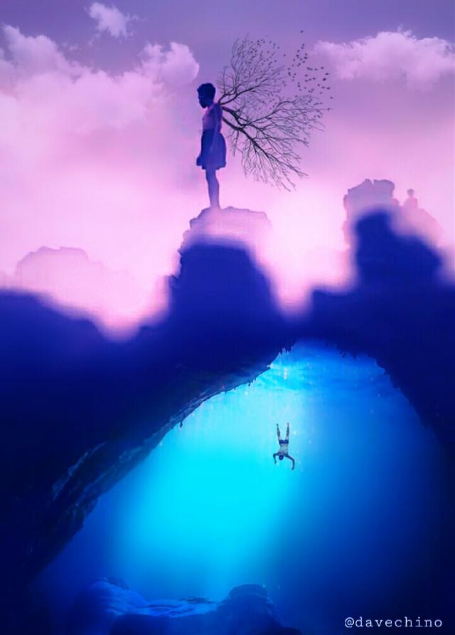 #boy #underwater #upandup #falling #drown #branch @freetoedit @picsart #conseptual #surreal #surrealist #surrealism #be_creative #myart #myedit