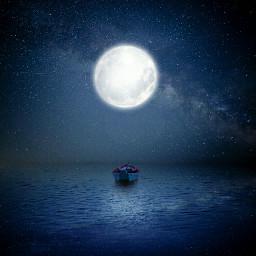 moon galaxy sea night dark freetoedit