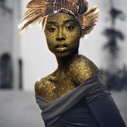 eccolorsplasheffect colorsplasheffect freetoedit woman gold