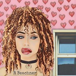 freetoedit woman hair tongueout hearts