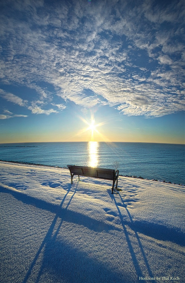 """"""" Gone But Not Forgotten """" - Sunrise on the shore of Lake Michigan in Racine, Wisconsin. Horizons by Phil Koch. #freetoedit  #remixit #nature #landscape #hdrphotography #winter #parkbench  #outdoors #peace #quiet #peaceful"""