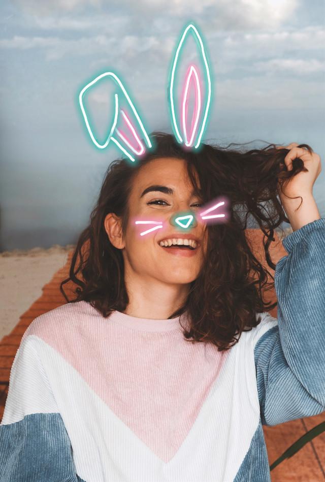 #freetoedit #easter #bunnyears #neon #happyeaster